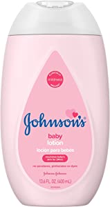 Johnson's Moisturizing Pink Baby Lotion with Coconut Oil, Gentle, Nourishing Baby Body Lotion, Hypoallergenic, Paraben-Free, Dye-Free, Phthalate-Free, 13.6 fl. oz