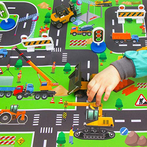 CHICKEN TOYS Construction Vehicles Toys with Play Mat