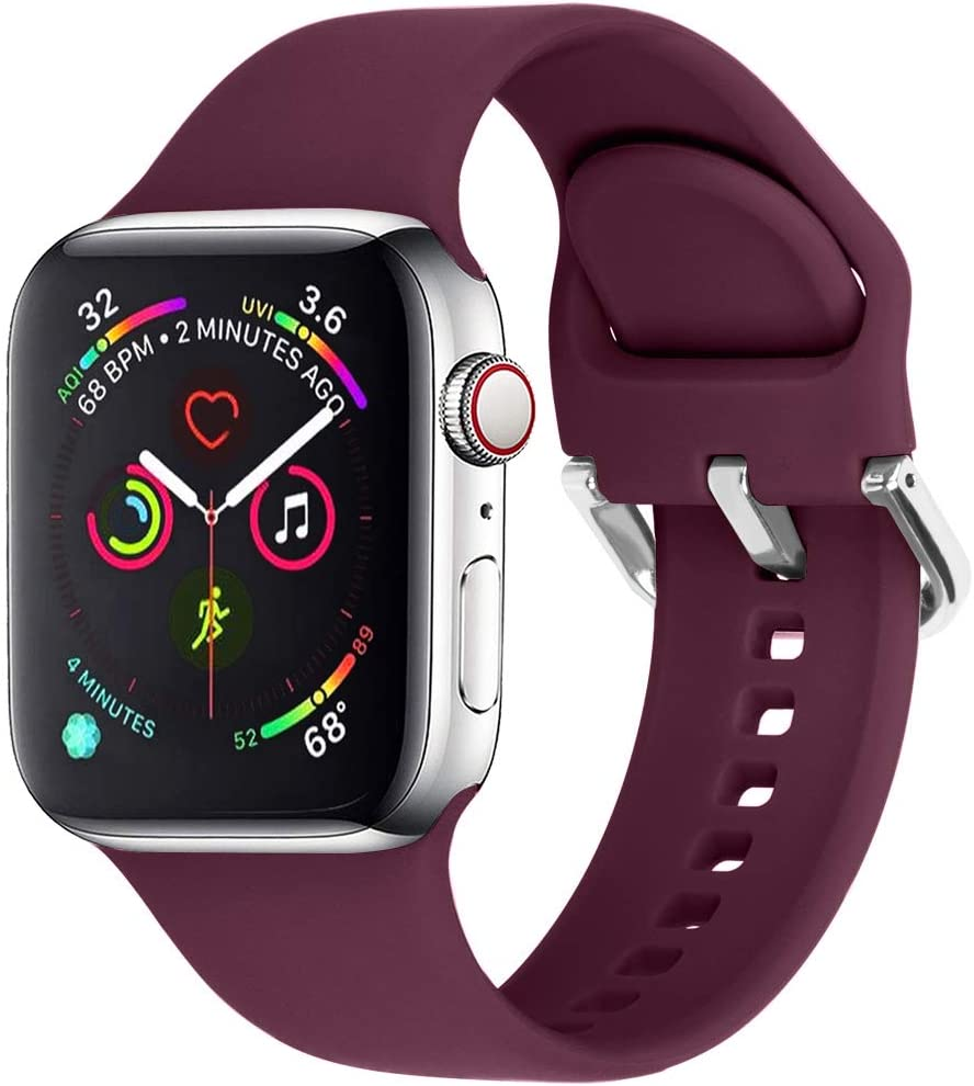 eCamframe Sport Watch Bands Compatible for Apple Watch Band 38MM 40MM 42MM 44MM, Soft Silicone Wristband Strap Compatible with iWatch SE, Apple Series/6/5/4/3/2/1 (Wine, 42mm 44mm-M/L)