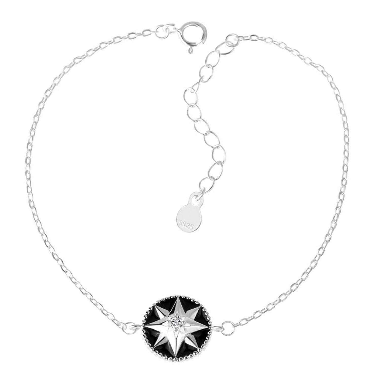 DVANIS Disc-Shaped Star Round Cut Cubic Zirconia Sterling Silver Link Bracelet