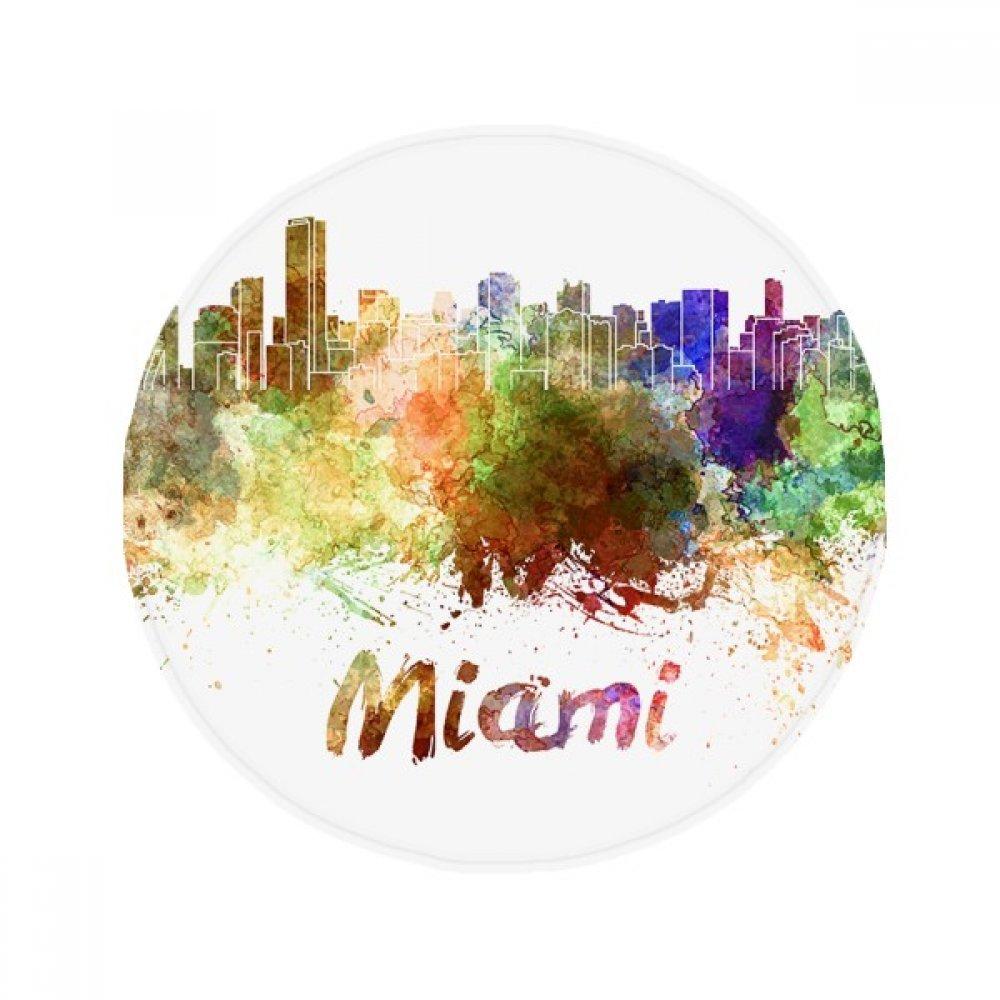 60X60cm DIYthinker Miami America City Watercolor Anti-Slip Floor Pet Mat Round Bathroom Living Room Kitchen Door 60 50Cm Gift