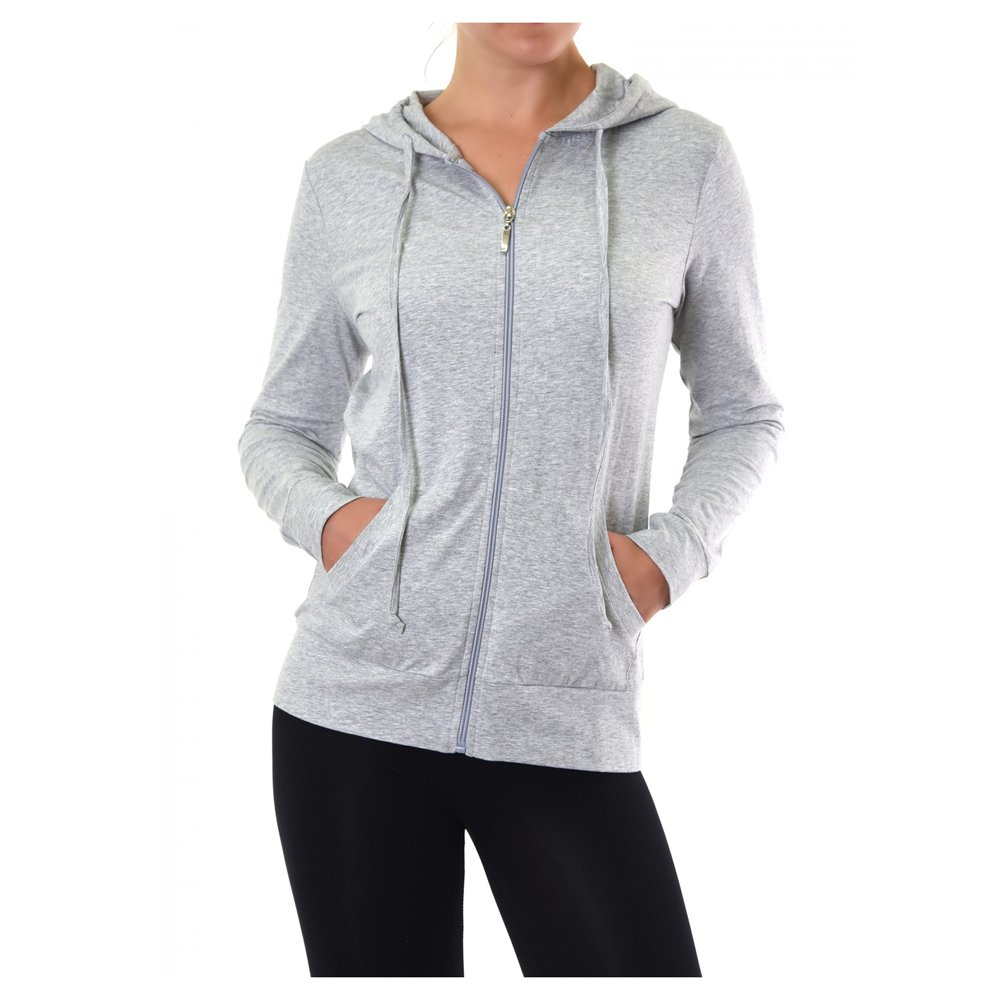 Uni Style Apparel Womens Thin Cotton Zip-Up Hoodie Jacket (HGREY, XLarge)