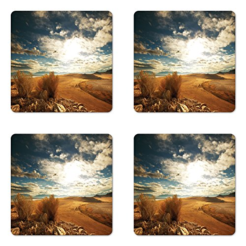 (Lunarable Landscape Coaster Set of Four, Prairie Hot USA Mississippi River Valley with Idyllic Summer Season View Image, Square Hardboard Gloss Coasters for Drinks, Orange Blue)