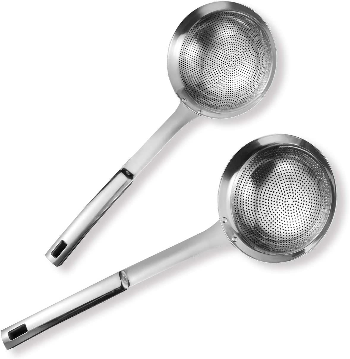 Large Scoop Colander,13 lnches /& 16 lnches Comfortable Grip Design Strainer Ladle,for Cooking and Frying Premium 304 Stainless Steel Skimmer Slotted Spoon Set