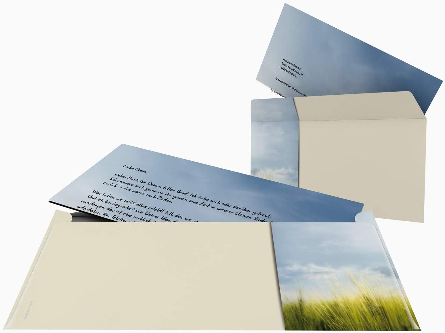 90g//qm und 50 passenden DIN LANG-Briefumschl/ägen Natur und Meer Briefpapier Set JEVER Herbst 100-teilig mit 50 Blatt Motivpapier DIN A4 K/üste