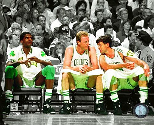 Robert Parish, Larry Bird, & Kevin McHale Boston Celtics NBA Spotlight Action Photo (Size 8