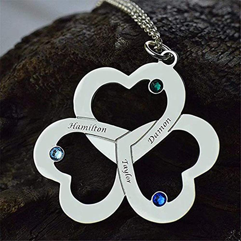 Thymeflower Personalized Name Necklace with Heart Shape Engraved with 3 Birthstones and Names Silver Custom Made Necklace
