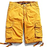 Men's Cotton Cargo Shorts Elastic Waist Loose Fit Pants Boys Summer Outdoor (33,Yellow)