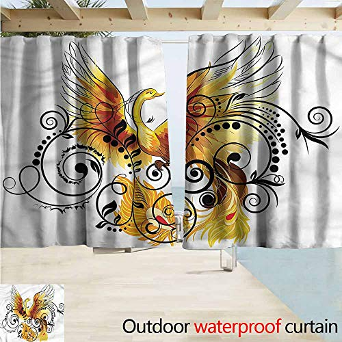 MaryMunger Outdoor Patio Curtains Animal Mystic Bird Phoenix Floral Rod Pocket Curtain Panels W63x45L Inches (Phoenix Patio Outdoor Curtains)