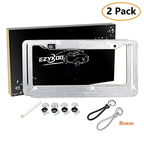 Amazon.com: EZYKOO 2 Pack Bling License Plate Frame Diamond Sparkly ...