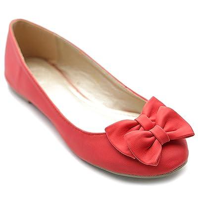 Ollio Women's Ballet Shoe Down Cute Comfort Ribbon Accent Flat | Shoes