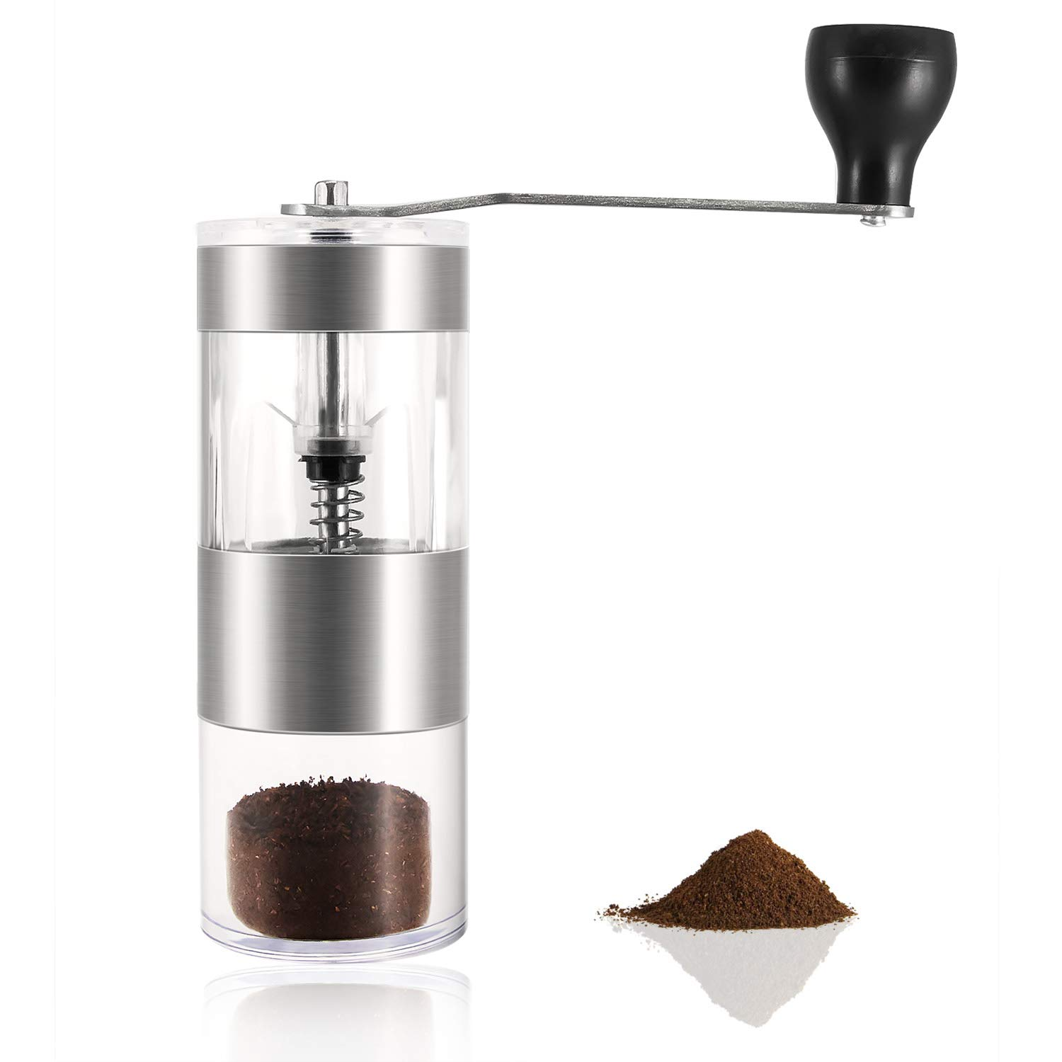 Acrylic Jars and Stainless Steel Handle HENSUN Manual Coffee Grinder Mini Ceramic Conical Burr Mill Portable Handheld Manual Coffee Bean Grinder for French Press