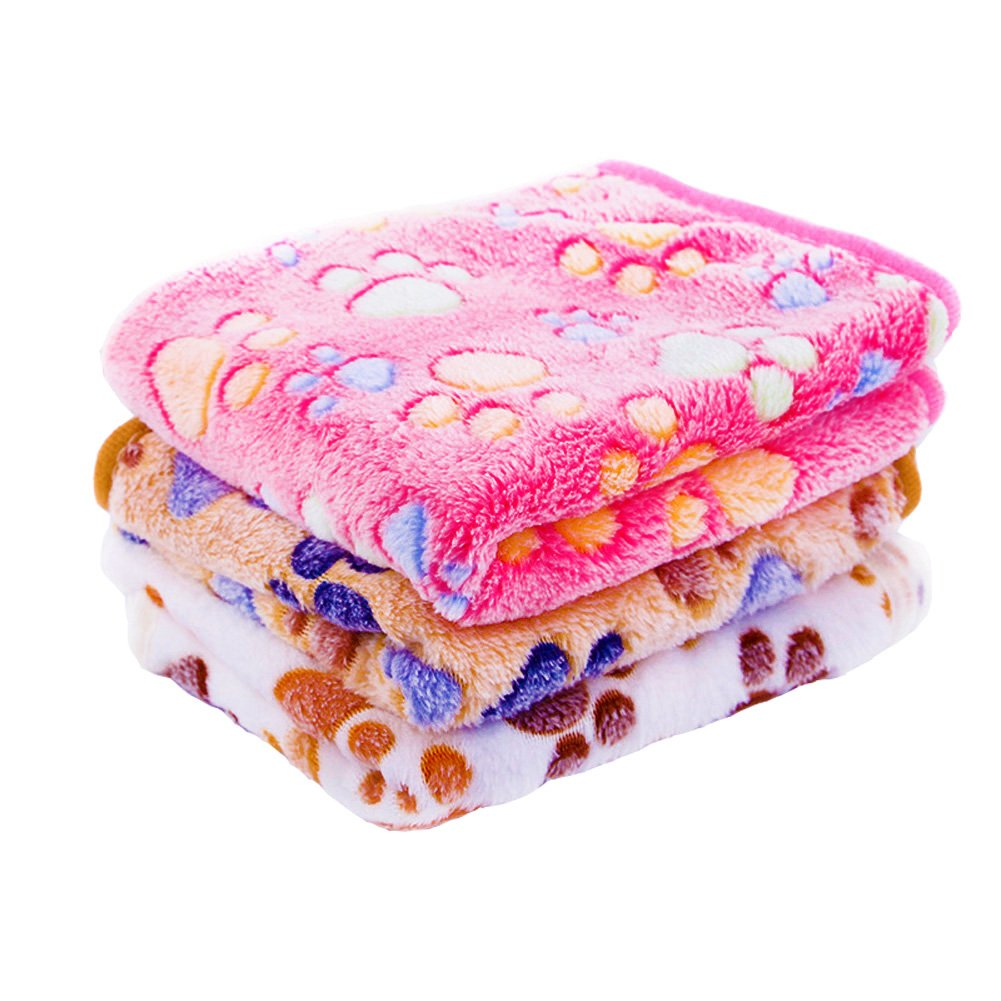3 Pack 3 Colors Warm Flannel Pet Dog Blanket & Lovely Baby Best Puppy Blanket for Car,Couch,Bed & Soft Small Dog and Cat Blankets