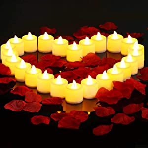 B2LOVER LED Candles 24 Packs Flameless Tea Lights with 1000 Packs Artificial Rose Petals for Romantic Night Valentine's Day Wedding Table Party Decor