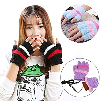 USB Heating Winter Gloves, Iusun Women Hand Warm Gloves Heated Fingerless Warmer Mitten