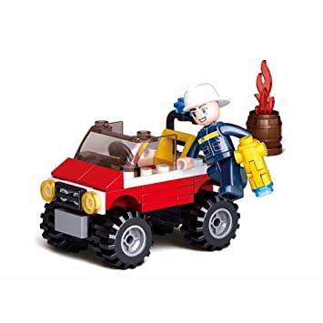 Sluban Building Blocks Fire Serie Fire Jeep figures Compatible Building Bricks