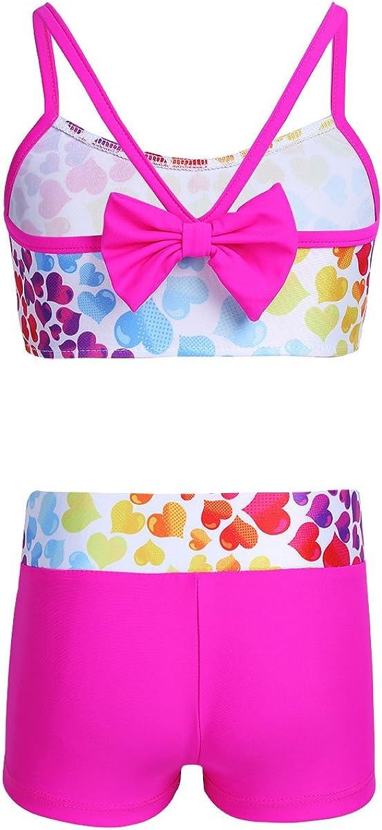 Nimiya Kids Girls 2PCS Swimsuit Sport Dance Outfits Tankini Crop Top with Bottoms Heart-Shaped Swimwear Bathing Suits Workout