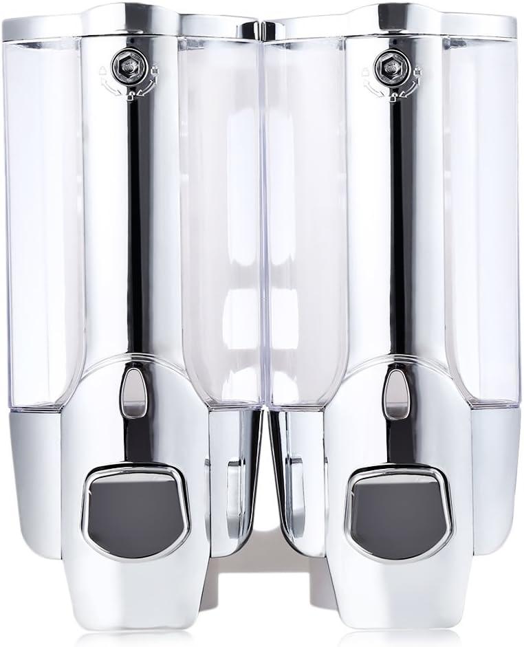 Dispensador de gel de ducha, 700 ml, para montaje en pared, caja de champú doble