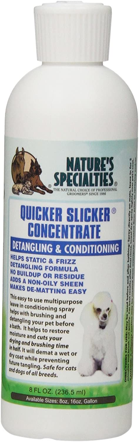 Nature's Specialties Quicker Slicker Concentrate Conditioner for Dogs Cats, Non-Toxic Biodegradeable, 8oz