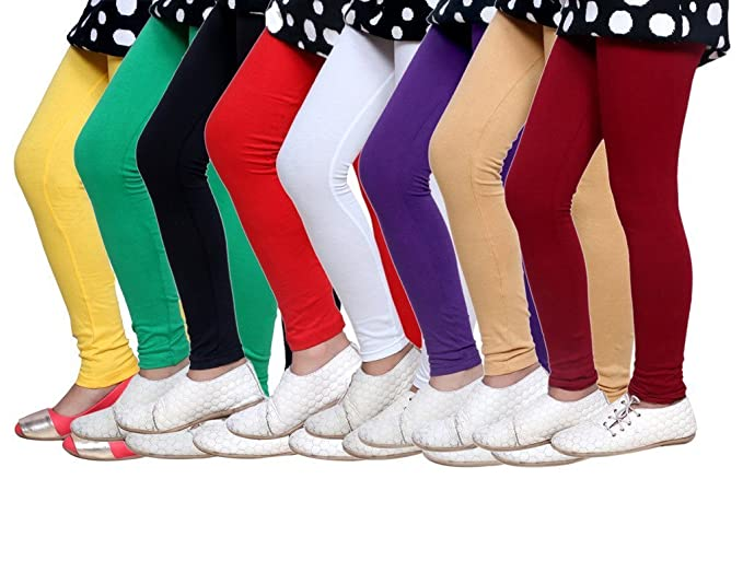 -Multiple Colors-1-3 Years Indistar Little Girls Cotton Full Ankle Length Solid Leggings Pack of 6