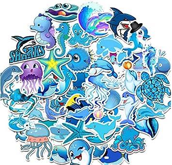 GYYNR 50PCS Azul océano Vida Marina delfín Pegatina Graffiti Pegatinas para DIY Pegatina en Estuche de Viaje Laptop Skateboard Guitarra Nevera: Amazon.es: Electrónica