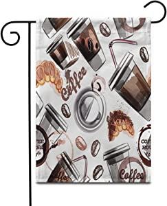 """Awowee 28""""x40"""" Garden Flag Brown Aroma Coffee Plastic Cups and Croissant in Watercolor Outdoor Home Decor Double Sided Yard Flags Banner for Patio Lawn"""