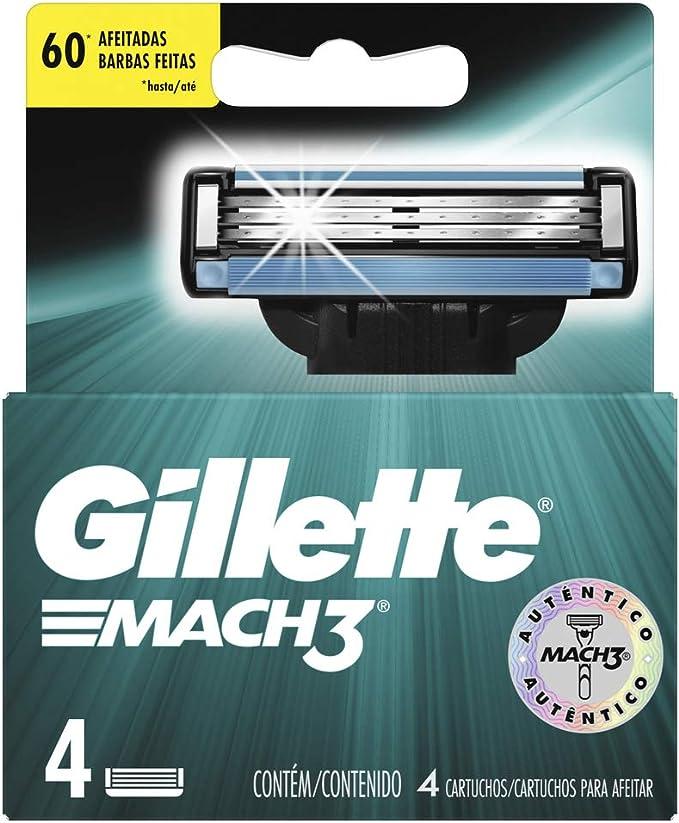 Mach3 Gillette Afeitadora - 4 Recambios, Empaque puede variar ...