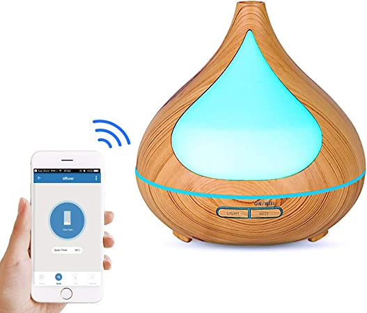 NEWKBO 550ml USB Remote Control Aroma Oils Diffuser Cool Humidifier with 7 Color Changing LED Lights and Waterless Auto Shut Off for Home Office Baby