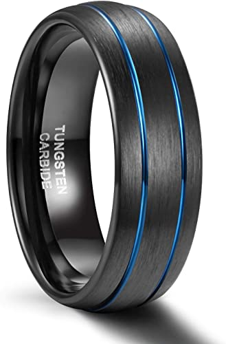 8mm Tungsten Comfort Fit Wedding Band Promise Ring Three Stripes Black Ring