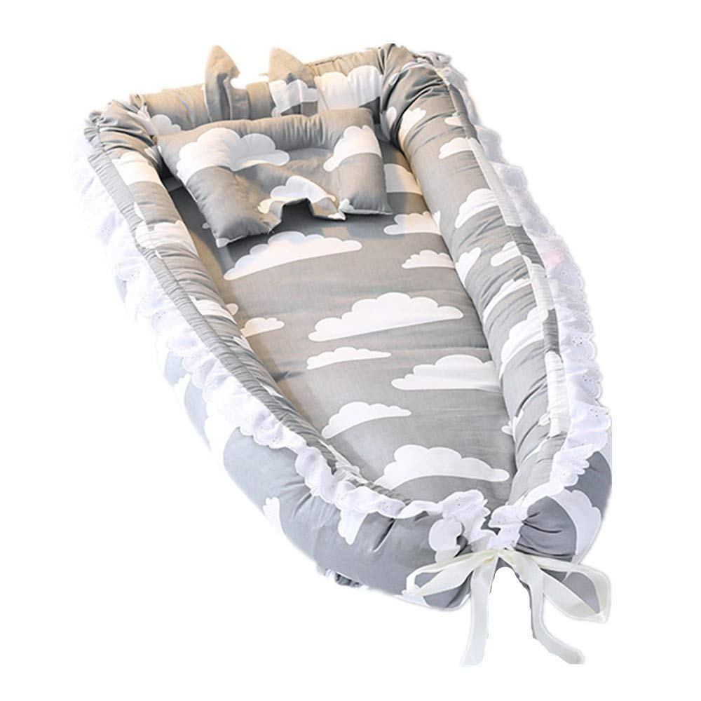 Abreeze Ruffled Baby Bassinet for Bed -Grey Clouds Baby Lounger - Breathable & Hypoallergenic Co-Sleeping Baby Bed - 100% Cotton Portable Crib for Bedroom/Travel by Abreeze