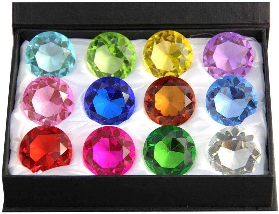 Zoogamo 60mm Diamond Shaped Multicolor Glass Crystal Paperweight – 12 Pieces Home Office Decor & Wedding Favors Decoration with Gift Box