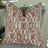 Thomas Collection Designer Decorative Throw Pillow, Red Cream Gray Gold Scroll Throw Pillow, Modern Red Geometric Pattern Accent Pillow, COVER ONLY, NO INSERT, Made in USA, 11293