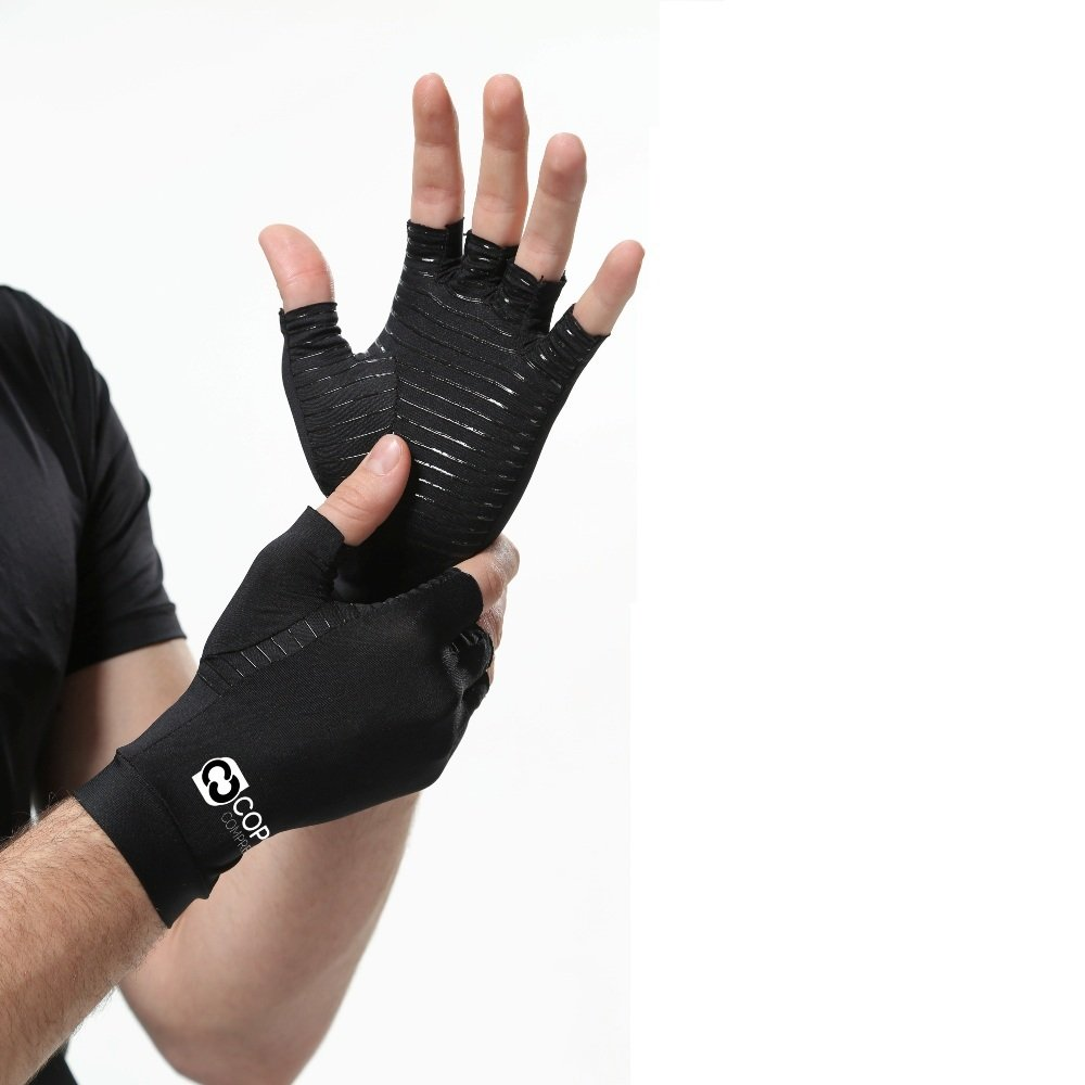Copper Compression Arthritis Gloves - GUARANTEED Highest Copper Content. #1 Best Copper Infused Fit Glove For Carpal Tunnel, Computer Typing, And Everyday Support For Hands And Joints (1 PAIR)