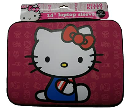"25f002086 Image Unavailable. Image not available for. Color: Hello Kitty 20609G  14"" Neoprene Sleeve Zippered Laptop Case (Pink)"
