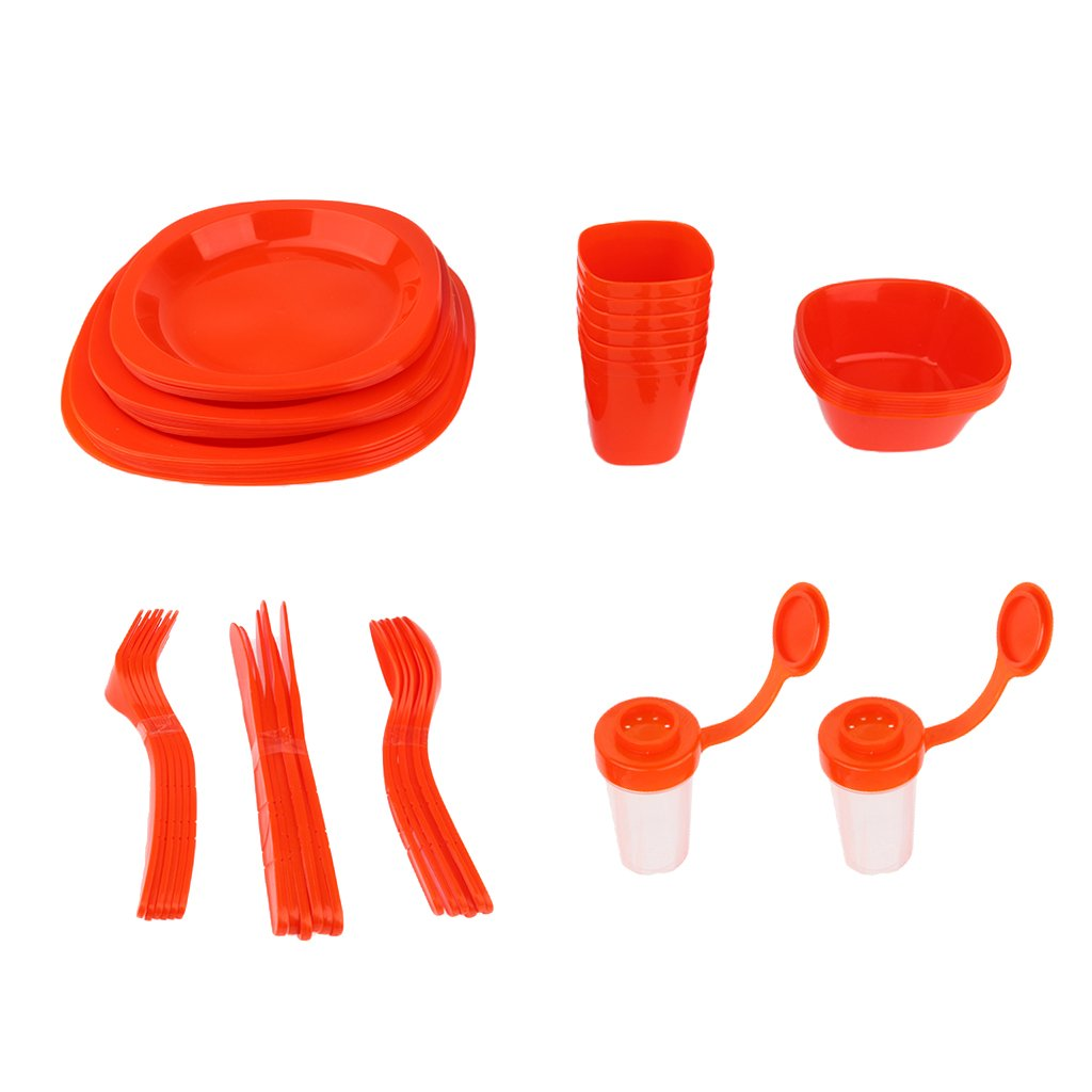 CUTICATE 51pcs Outdoor Camping Party Dinnerware Set Plastic Picnic Lunch Plate Spoon - Red, 25.5x25x18cm by CUTICATE