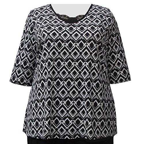 Viviana Women's Plus Size Black & White Diamond Links 3/4 Sleeve Flared A-Line Pullover Top - 4X