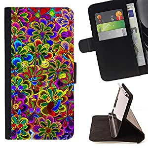 Momo Phone Case / Flip Funda de Cuero Case Cover - Vibrante primavera púrpura violeta amarillo - Huawei Ascend P8 (Not for P8 Lite)