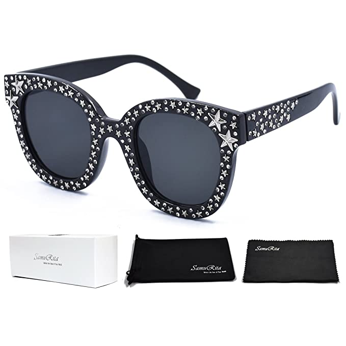 cf81ebbadfa62 SamuRita Vintage Star Rhinestone Cat Eye Sunglasses Novelty Celebrity Shades (Black)