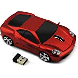 Wireless Car Shape Mouse, FIRSTMEMORY 2.4G Cool Sport Race Car Mouse Optical Mouse 1600 DPI for PC Laptop Desktop Mac (Red)