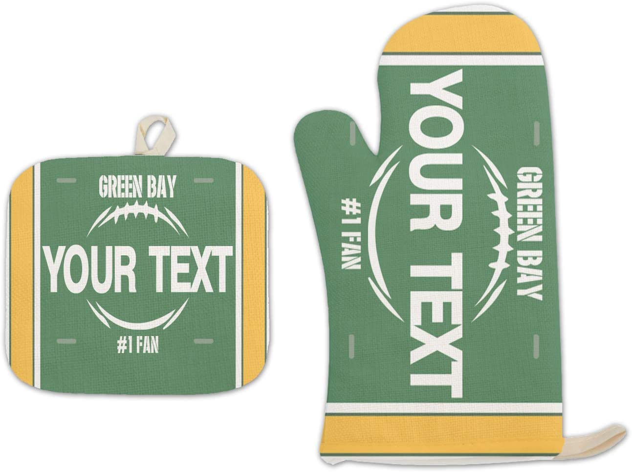 Bleu Reign BRGiftShop Personalized Custom Name Football Team Green Bay Linen Oven Mitt and Potholder Set