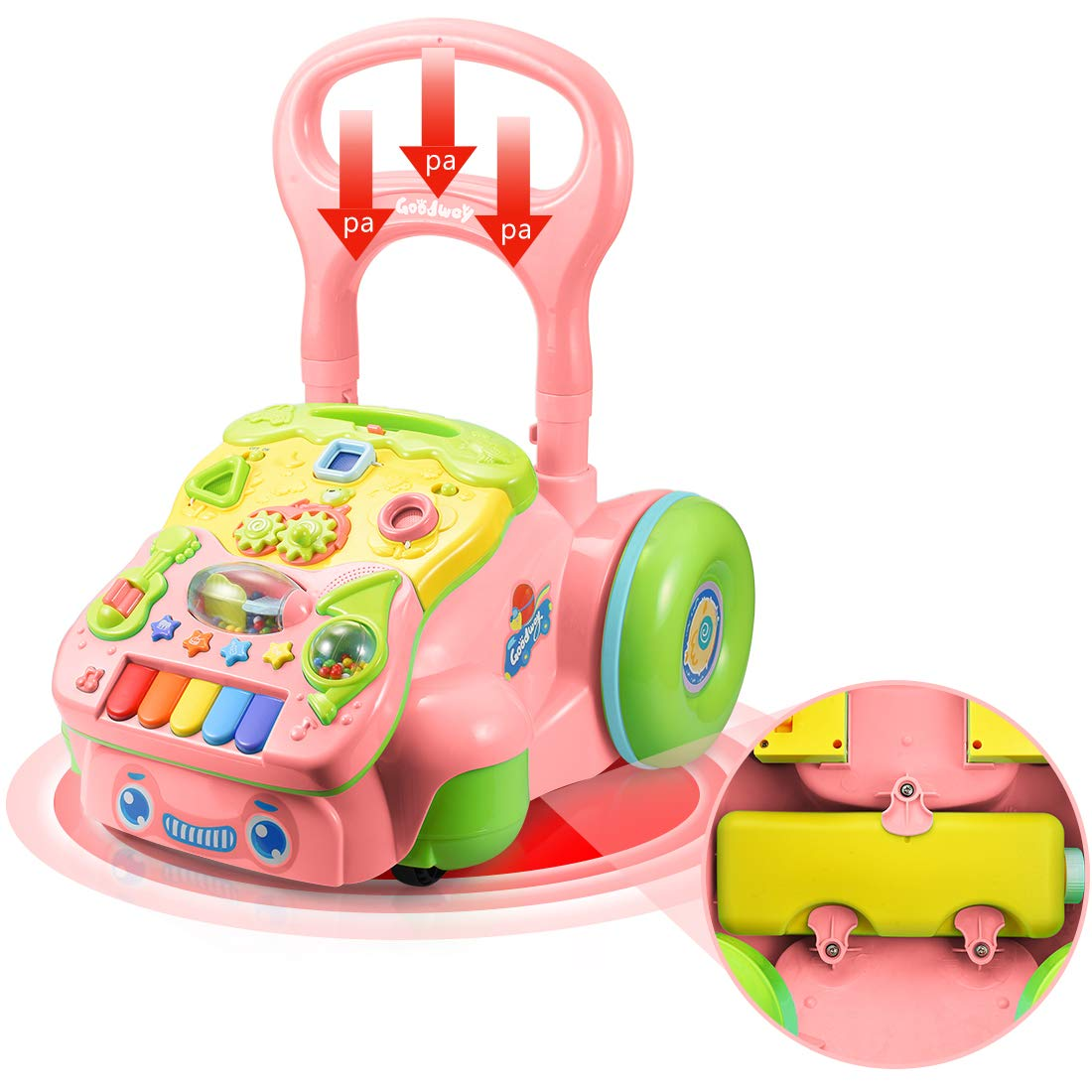 Forstart Sit-to-Stand Learning Walker Push and Pull Activity Center Music and Light Adjustable Height Early Development Toys for 6 Months to 3 Years Old