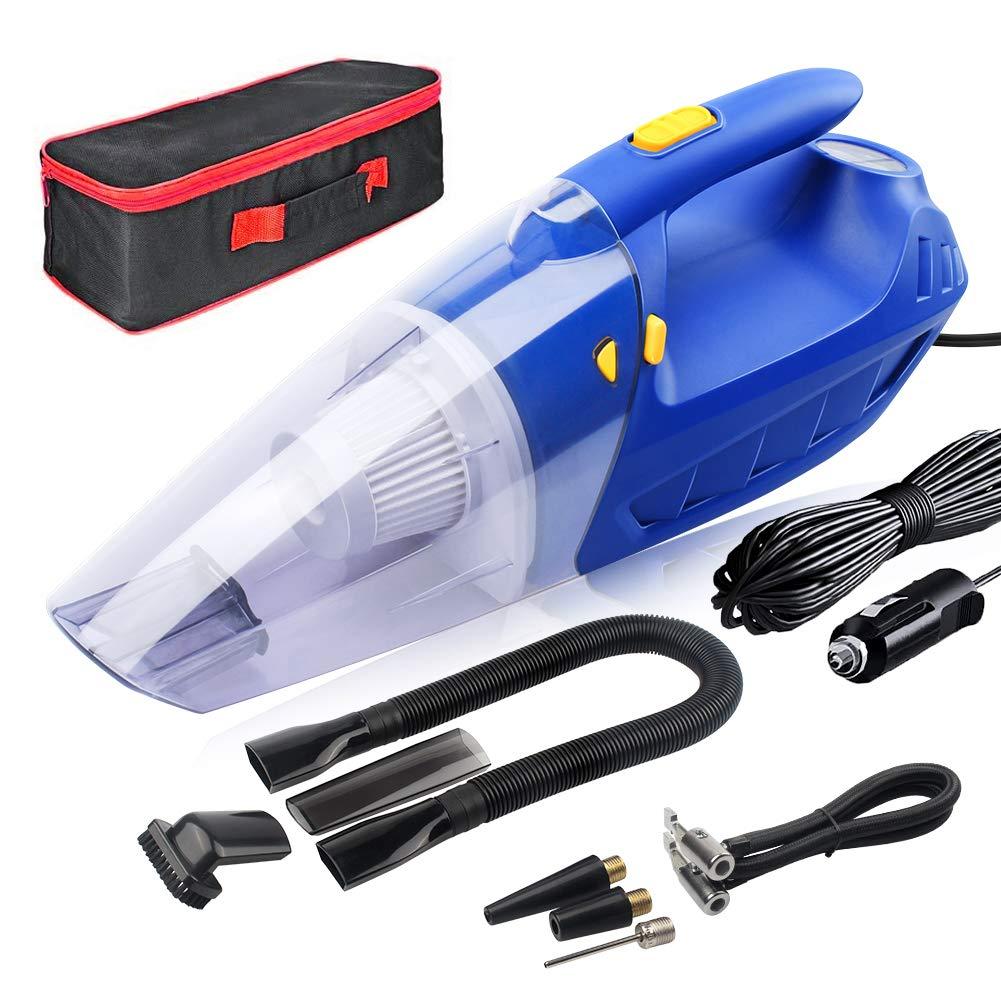 Aspirateur pour voiture, 150W 4.5PA, Compresseur d'air portable, Eclairage LED, Technologie sèche & humide. NFYOI Aspirateur à Main de Voiture Puissant et Portatif sur l'Allume-Cigare avec Cordon 5M (Bleu) Compresseur d'air portable