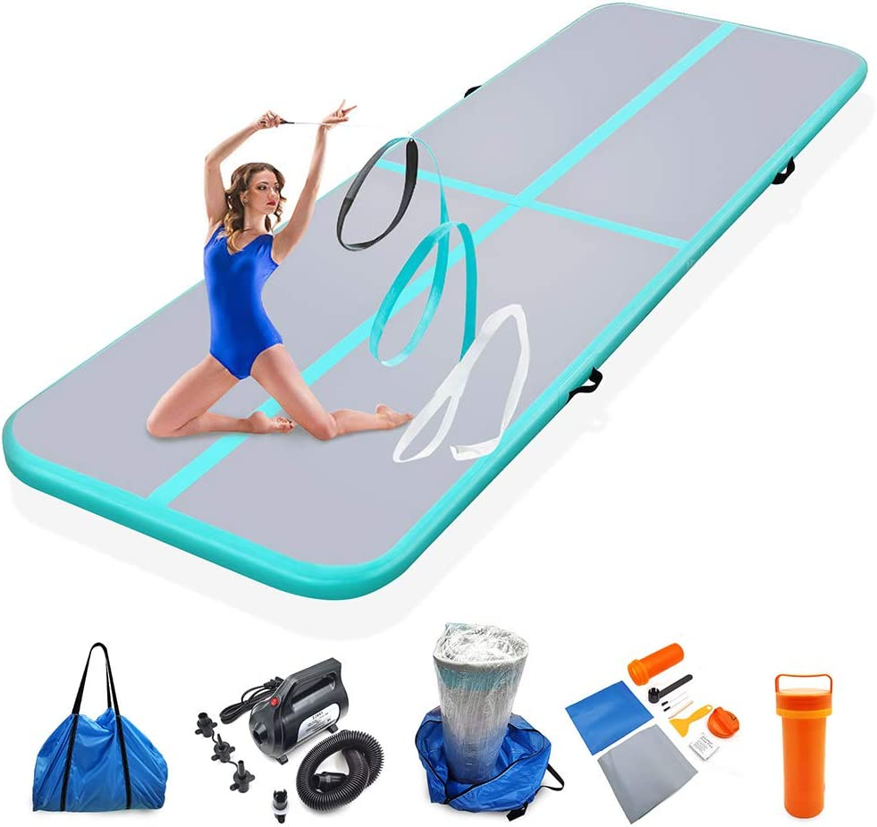 Milazul Air Track 10ft Inflatable Gymnastics Mat Airtrack Tumbling Mats Thickness 4 inches for Home Use/Gym/Yoga/Training/Cheerleading/Outdoor/Beach/Park/Water/Kid with Electric Air Pump Carry Bag