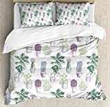 Cactus Duvet Cover Set King Size by Ambesonne, Mexican Local Plants Succulents Indigenous Foliage in Flowerpots Domestic Flora Art, Decorative 3 Piece Bedding Set with 2 Pillow Shams, Multicolor