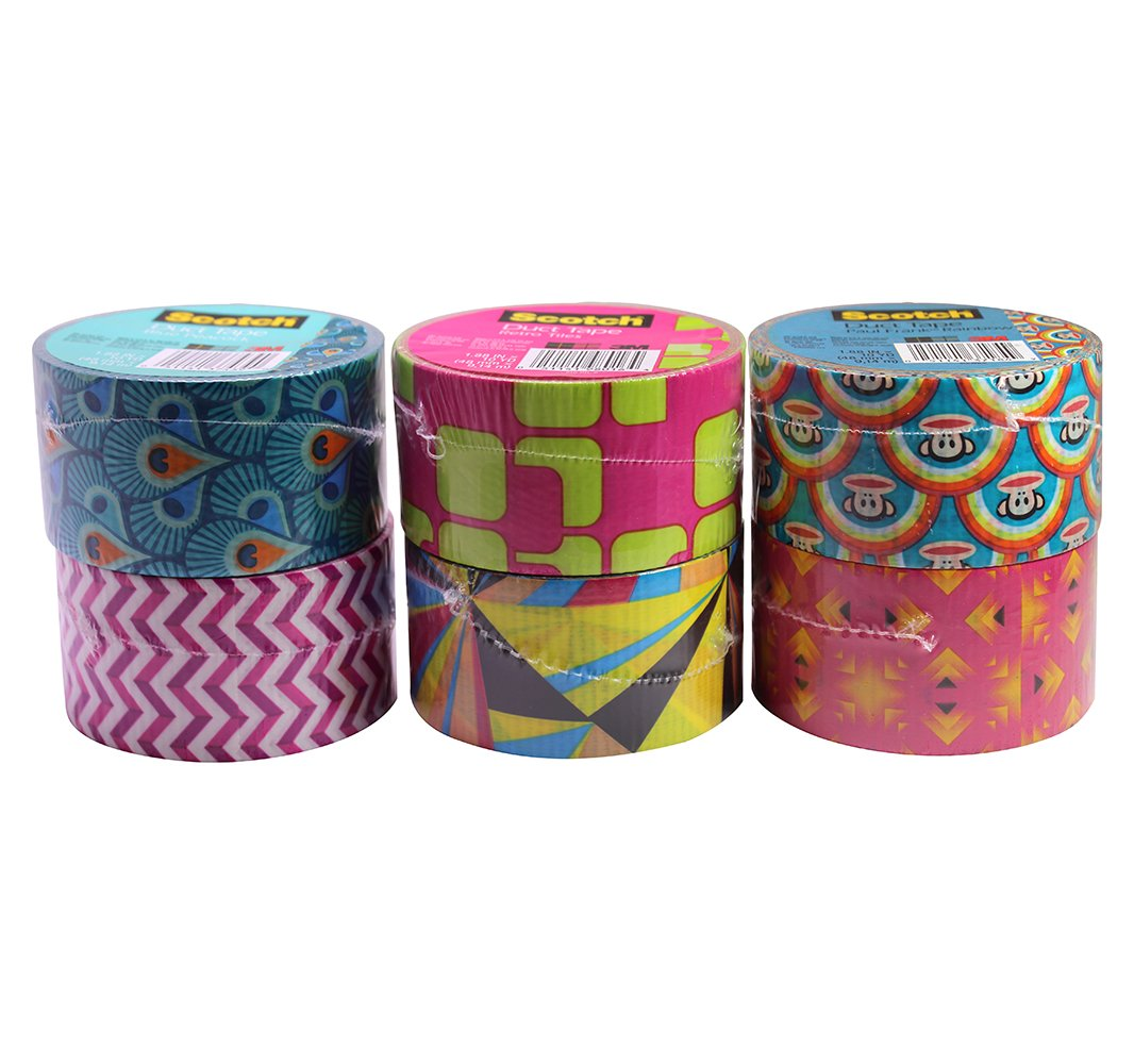 Scotch Duct Tape Set, Assorted Prints and Designs, 2x10 Yards Each Roll (Pack of 6)
