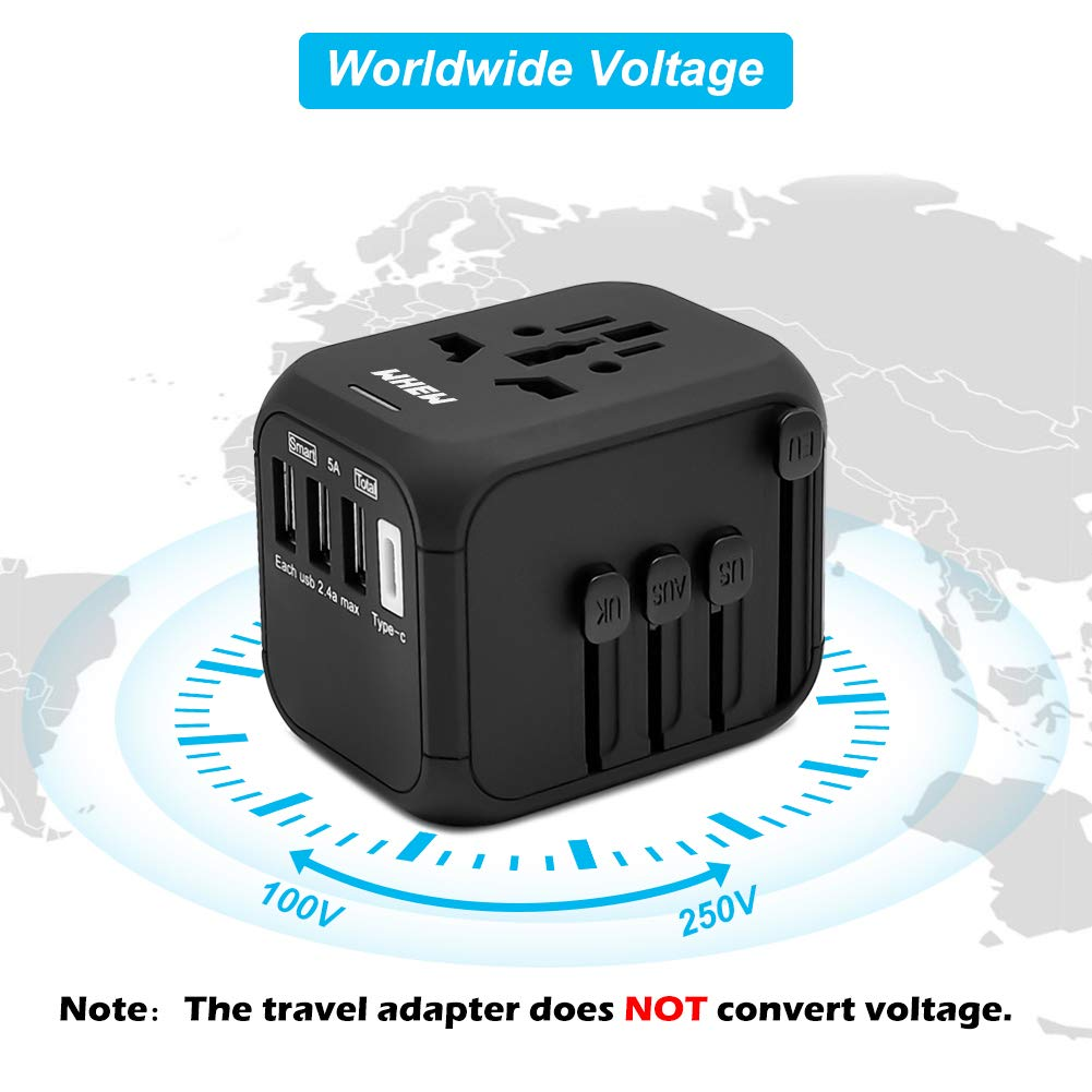 Universal International Travel Adapter with Auto-Reset Fuse, Whew All-in-One Worldwide Power Adapter Travel Plug Adapter, 5A USB Output, 1 Type C, 3 USB for US, UK, EU, AU, 170+ Countries (Black) by Whew (Image #7)