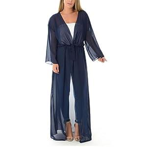 Femmes Maille Transparente Avec Ceinture Kimono En Mousseline De Soie Maxi À Manches Longues Pour Femmes Cardigans Haut