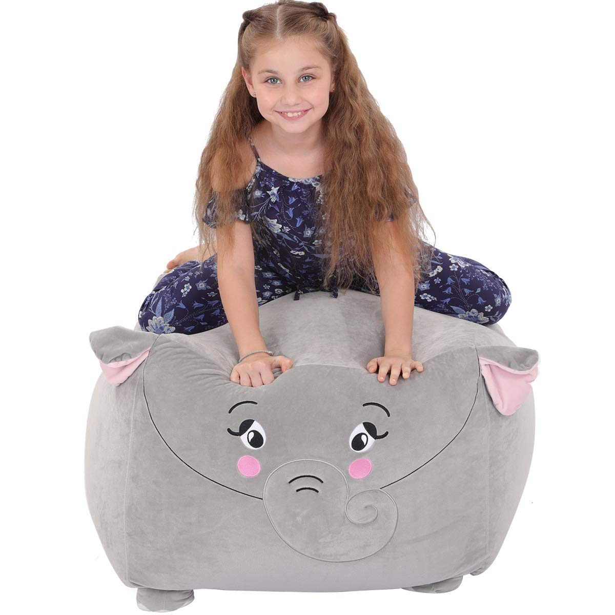 youngeyee Giant Elephant Stuffed Animal Storage Kids Bean Bag Chair, 24x24x20 Inches Velvet Toy Organization and Storage Zipper Bags for Plush Toy Pillows Blankets Towels Clothes by youngeyee