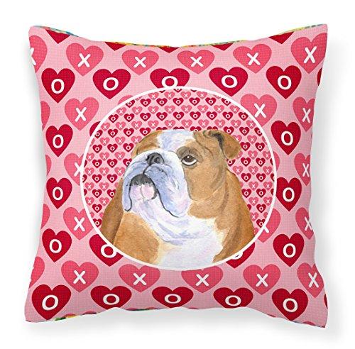 (Caroline's Treasures SS4491PW1414 Bulldog English Hearts Love Valentine's Day Fabric Decorative Pillow, 14Hx14W, Multicolor)