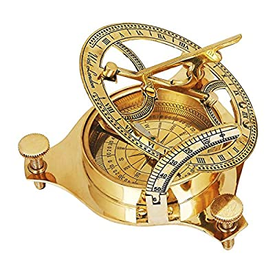 Fathers Day Gifts Unique Birthday Gift Ideas Solid Brass Classic Sundial Compass Hiking Climbing Biking Hunting Camping Survival Compass Outdoor Navigation Directional Nautical Liquid Filled Compass